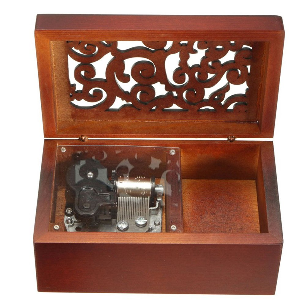 Antique Engraved Wooden Wind-Up Musical Box,Love Story Musical Box,with Gold-plating Movement in,Heart-shaped
