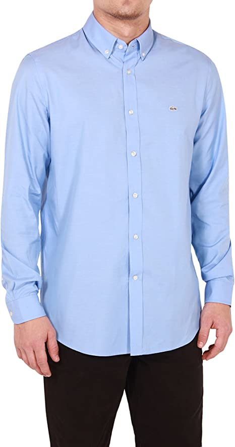 Lacoste Hombre Manga Larga hemisferio Color Azul Claro Camiseta ...