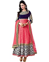 Dwitstyle Women's Brasso Salwar Suit Dress Material (Mahi Pink_Pink_Free Size, Semi-Stitched )