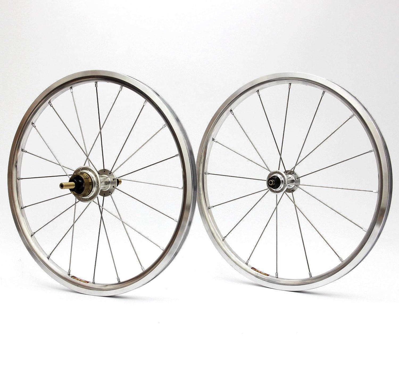 Aceoffix 自転車 超軽量 ホイール 16インチ 349 Bronpton折りたたみ自転車用 ホイールセット 前後 自転車パーツ  シルバー B07KP95KF2