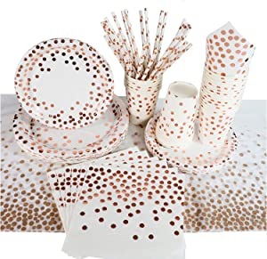 Rose Gold Dot Party Plates Napkins Cups Tablecloth and Straws for 16 Guests Rose Gold Party Supplies Decorations Disposable Paper Set for Birthday Wedding Engagement Baby Shower Brider Shower.