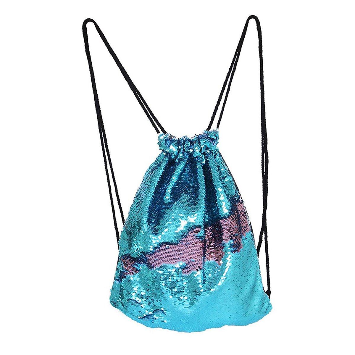 Xy Litol Drawstring Backpack, Gym Cinch Sack Sport Bag for Men & Women School Yoga Travel Shopping Blue Pink