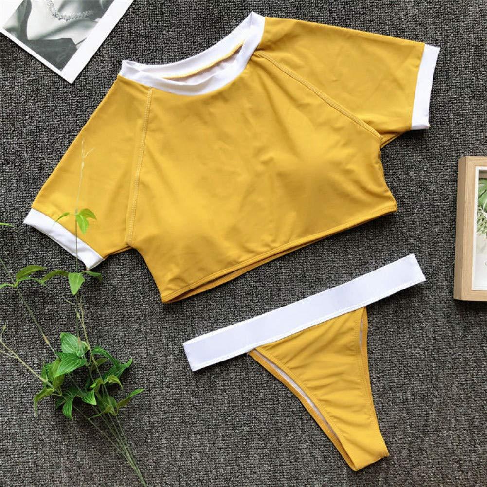 jaune S LMSHM Maillot De Bain Femme Léopard Push Up Bikini Femmes Patchwork Maillots De Bain Thong Taille Haute Maillot De Bain Femme Crop Top Maillot De Bain