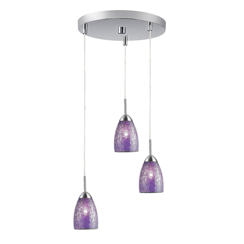 Woodbridge Lighting 13224STN-M20PURT Venezia 3-Light Satin Nickel Multi-Light Pendant with Purple Mosaic Glass