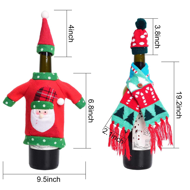 Paquete de 3 YQing Cubiertas de Botellas de Vino de Navidad Botellas de Vino Bufanda Bolsas Decoraciones de Comedor de Vacaciones Decoraci/ón Festiva para Cocina