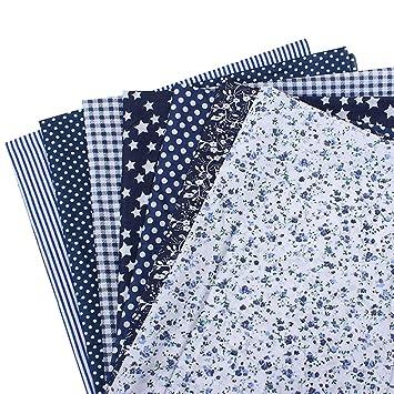 1Set Stoffe Basteln Patchwork Baumwollstoff geblümt Blau DIY 25cmx25cm