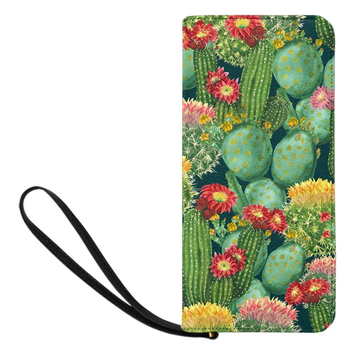 InterestPrint Womens Blooming Cactus on Dark Green Clutch Purse Card Holder Organizer Ladies Purse