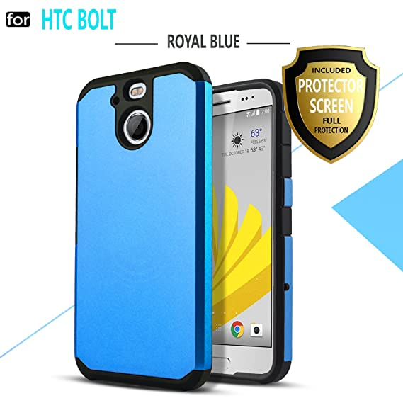 wholesale dealer 3fe65 f8dd3 STARSHOP HTC Bolt Case, [Shock Absorption] Dual Layers Impact Advanced  Protective Cover with [Premium HD Screen Protector Included] for HTC  Bolt/HTC ...