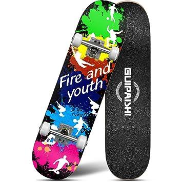 Weiyue patineta- Monopatín de Cuatro Ruedas para niños y Adolescentes Principiantes Scooter de Carretera de Doble Salto (Color : B, Tamaño : 80x20x13cm): ...