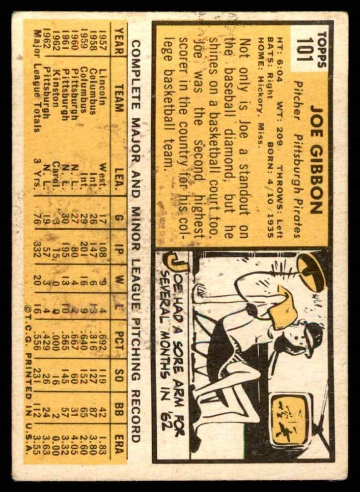 Deans Cards 2 1963 Topps # 101 Joe Gibbon Pittsburgh Pirates Baseball Card GOOD Pirates