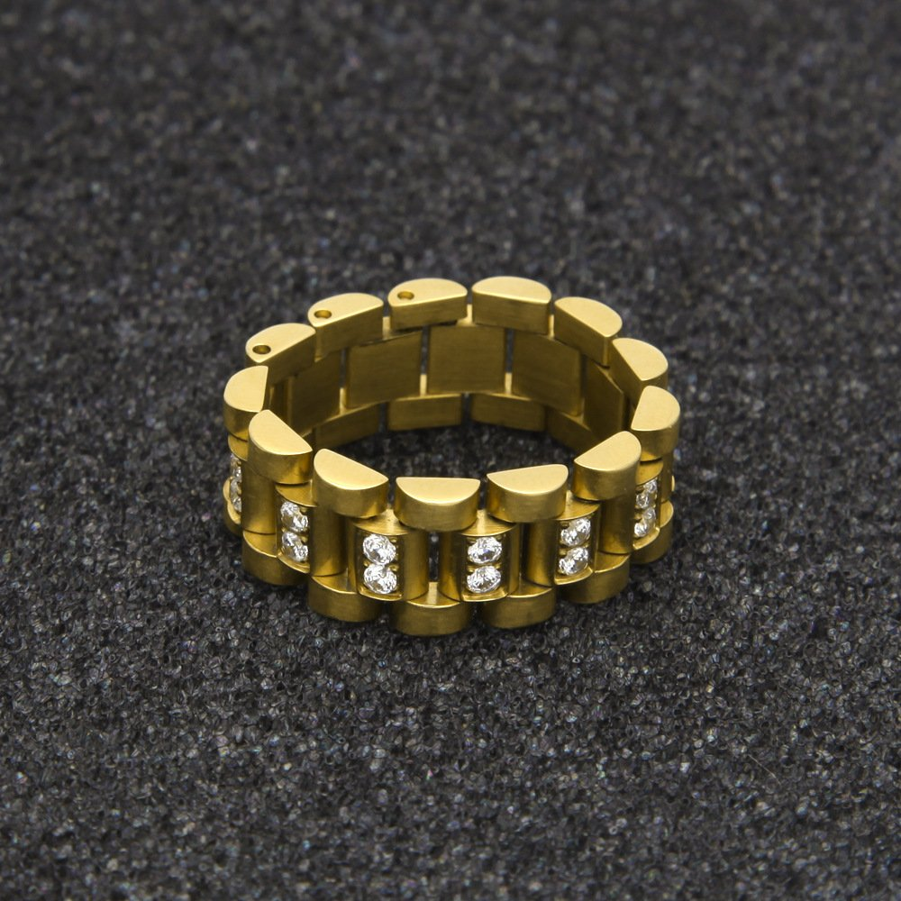 HongBoom Hot Hip Hop Rings 18K Gold Plated CZ CRYSTAL Fully Iced-Out Strap Ring (Gold/CZ/US size 8) by HongBoom (Image #4)