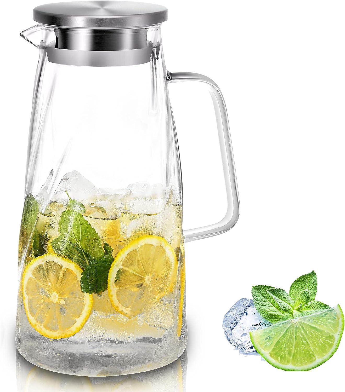 Glass Pitcher with Lid and Handle - Iced Water Carafe - [57 ounces,1.7 L] Lead-free Borosilicate Glass Beverage Jug - Sun Tea Pot Lemonade Milk Dispenser for Fridge Teapot Coffee Juice
