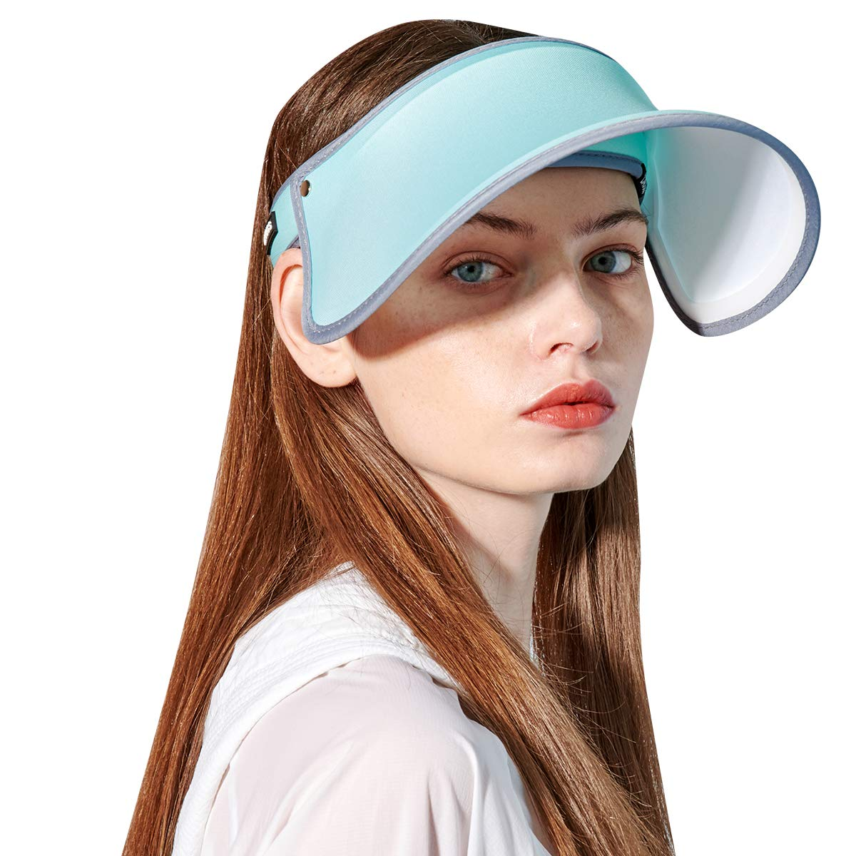 CACUSS Women's Visor UPF50+ Sun Cap Adjustable UV Protection Hat Outdoor Sports Cap(C0221-BLUE)
