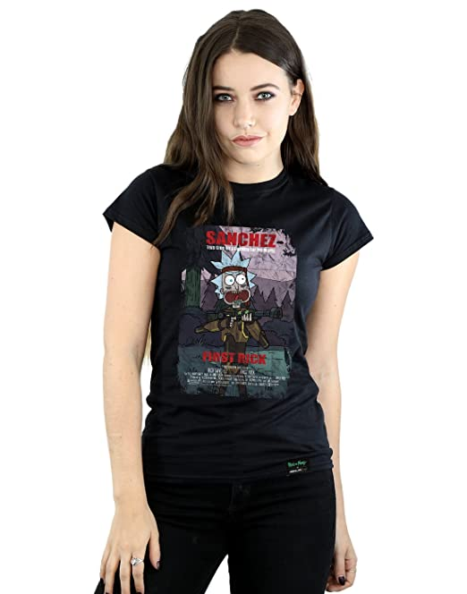 Absolute Cult Rick and Morty Mujer First Rick Poster Camiseta Negro Small
