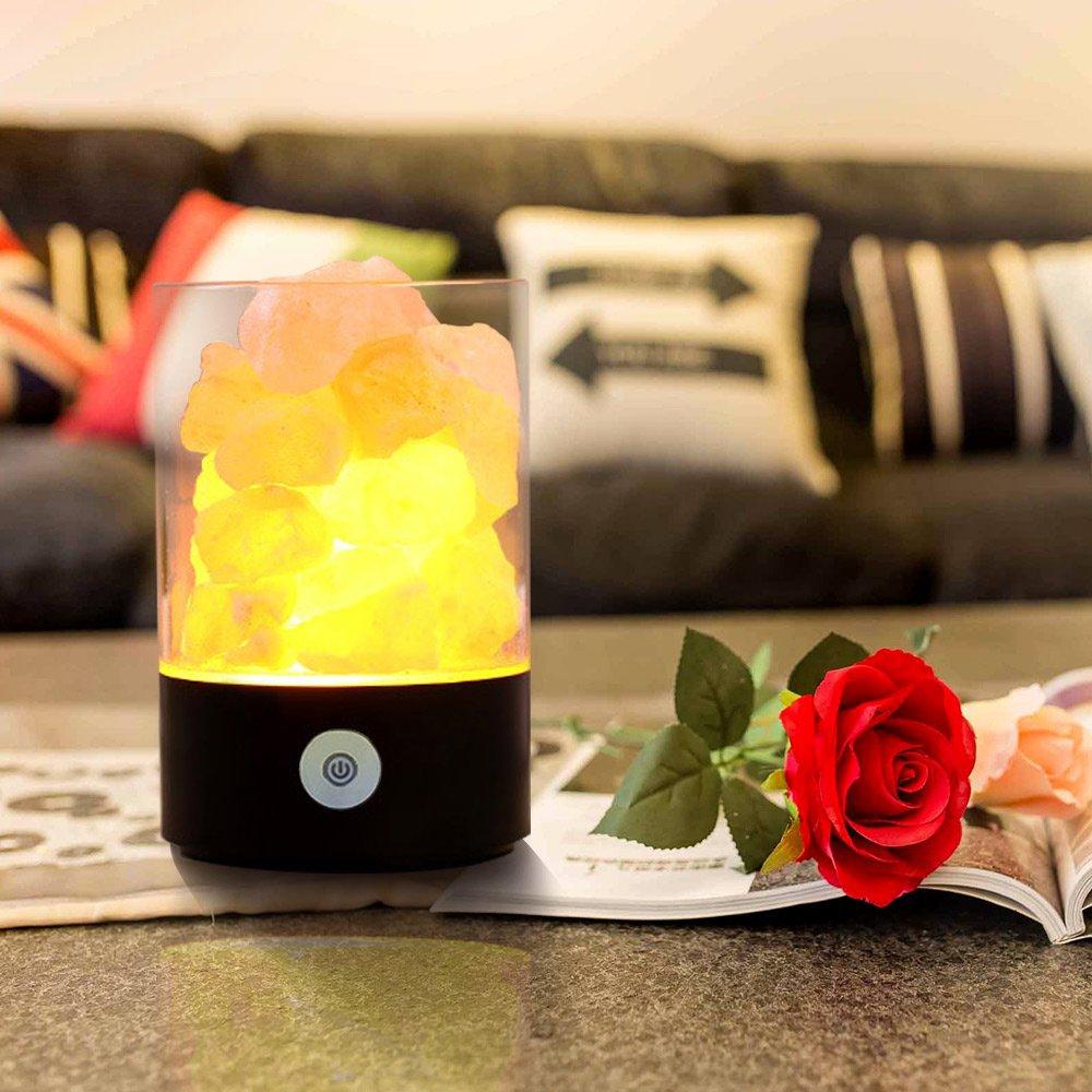 Mini Lampara De Sal,Cristal de Sal Natural de Himalaya Lámpara,Control Táctil de Brillo,Purificación de Aire para Decoración de Casa,Mejores Regalos: ...