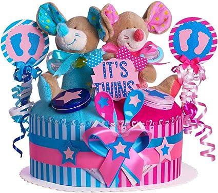 Favoloso Torta di Pannolini per gemelli in tonalità blu/rosa.//Regalo per XN28