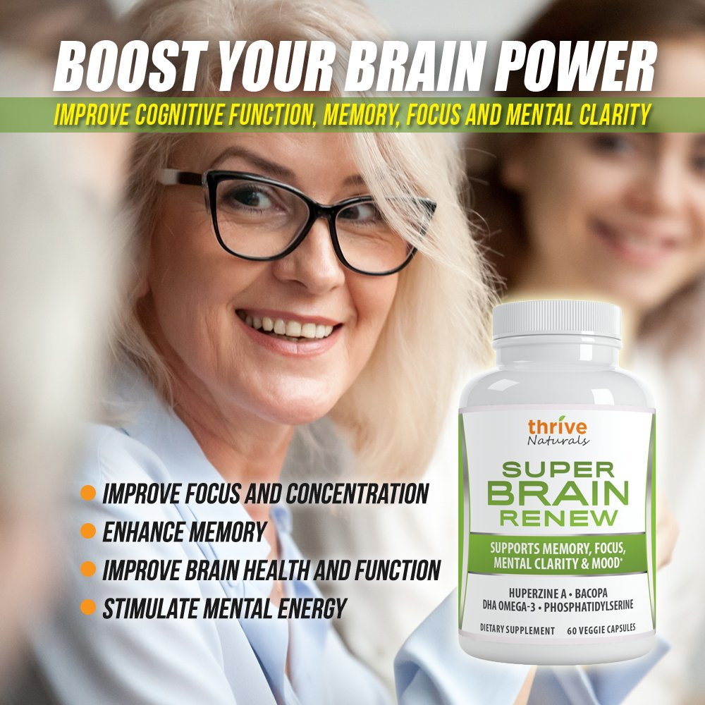 Thrive Naturals Super Brain Renew - Maximum Strength for Improved Cognitive Function, Memory, Focus and Mental Clarity - 60 Vegetarian Capsules - 1 Month Supply by Thrive Naturals (Image #5)