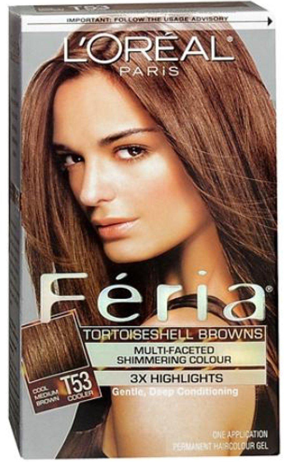 L'Oreal Paris Feria Multi-Faceted Shimmering Color, Cool Medium Brown [T53] 1 ea (Pack of 6) by L'Oreal Paris