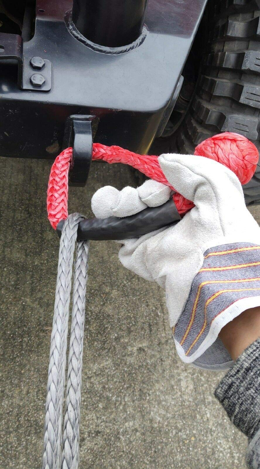Sinoking UHMWPE Synthetic Soft Shackle Rope 7/16 in. (30000lbs/14T Breaking strength) for Towing, Off-Road Vehicle Recovery,Red. by SINOKING