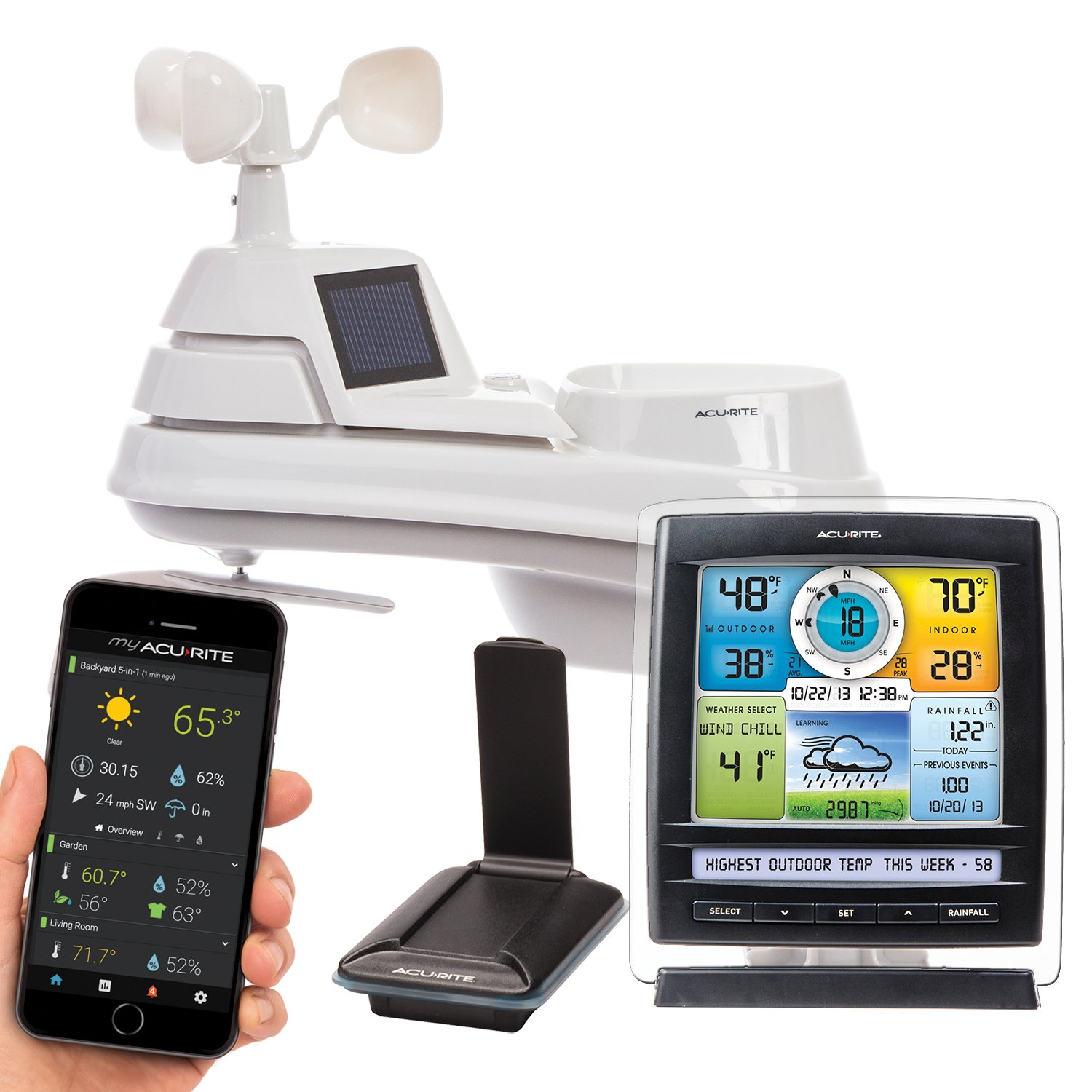 AcuRite 01057RM Color Weather Station Display & 5-in-1 Weather Environment System with My AcuRite Remote Monitoring App by AcuRite
