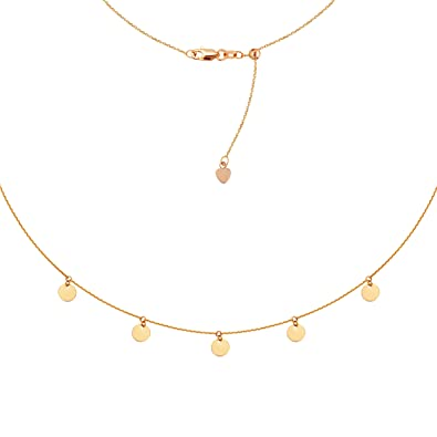 72e5efc11cdb21 Image Unavailable. Image not available for. Color: Choker Necklace with Dangle  Disk Charms Chain 14k Rose Gold - Adjustable