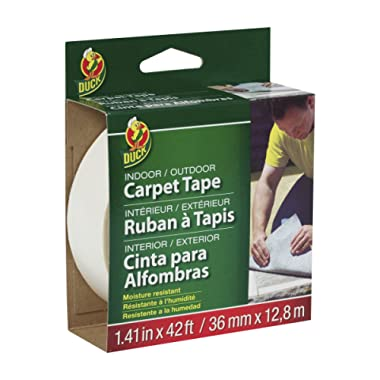 Duck 286373 Indoor/Outdoor Carpet Tape, 1.41-Inch x 42 Feet, White