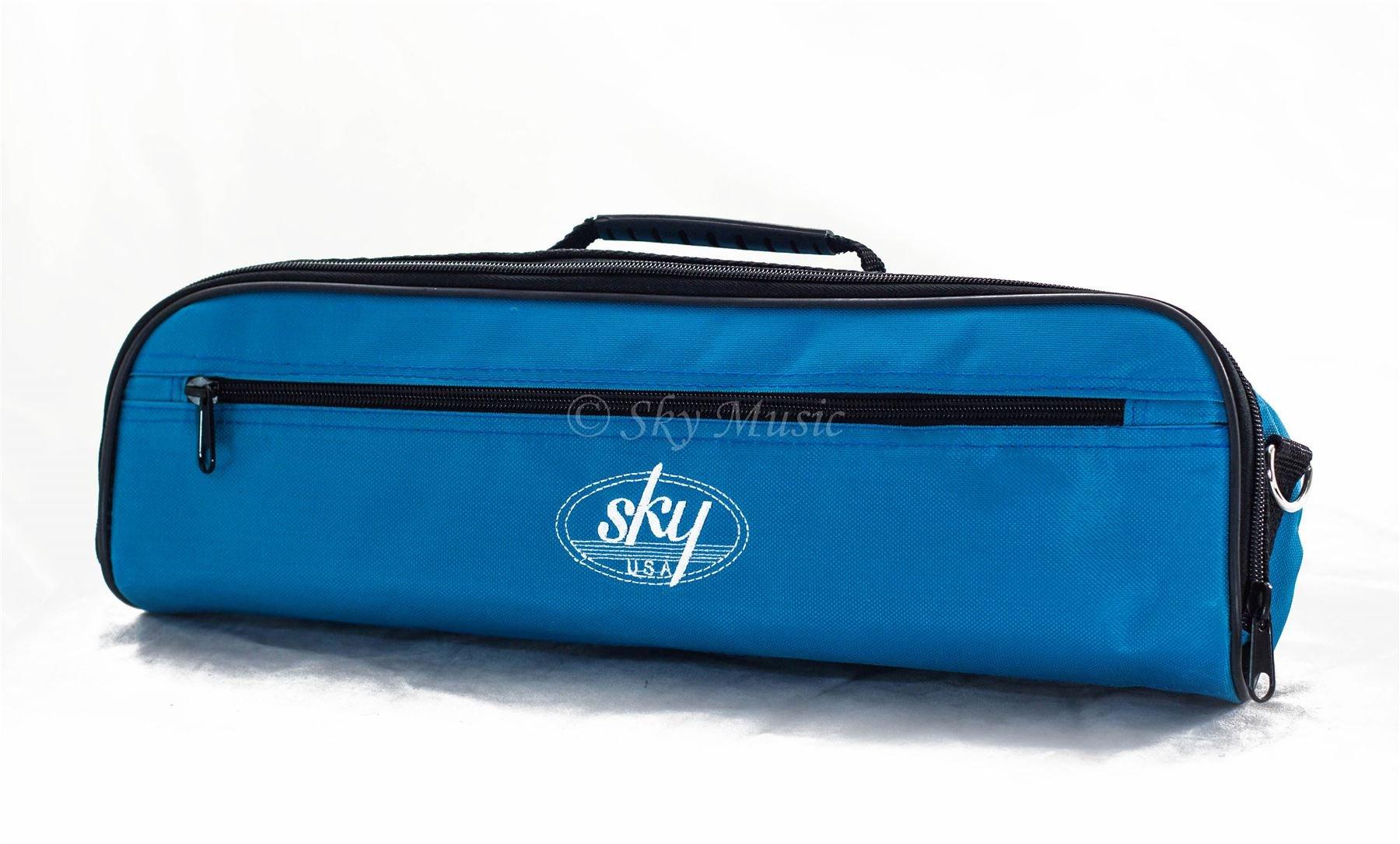 Sky Brand New C Flute Hard Case Cover w Side Pocket/Handle/Strap Sky Blue Color