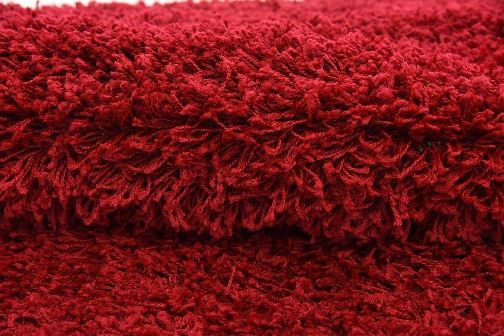 Unique Loom Solid Shag Collection Cherry Red 6 ft Round Area Rug (6 x 6)