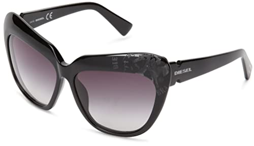 Diesel – Occhiali da sole DL0047 Occhi di gatto, Shiny Black Frame/Gradient Grey
