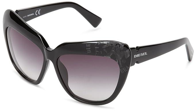 4d527844c6 Diesel - Gafas de sol Ojos de gato DL0047, Shiny Black Frame/Gradient Grey:  Amazon.es: Ropa y accesorios