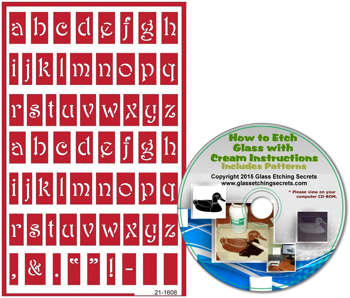 B019DC7ILE Reusable Glass Etching Stencils, Lower Case Letters + How to Etch & Patterns CD 71RBfxRv2BGL