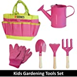 D SERIES Kids Gardening Tool Set Real Tools with Safety Edges, Gloves & Durable Tool Carrying Bag | Includes Pink Watering Can, Child Sized Trowel, Rake & Garden Fork | Learn While Playing