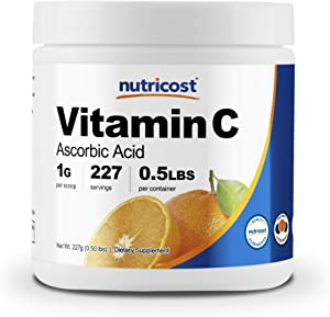 Nutricost Pure Ascorbic Acid Powder (Vitamin C) 0.5 LBS