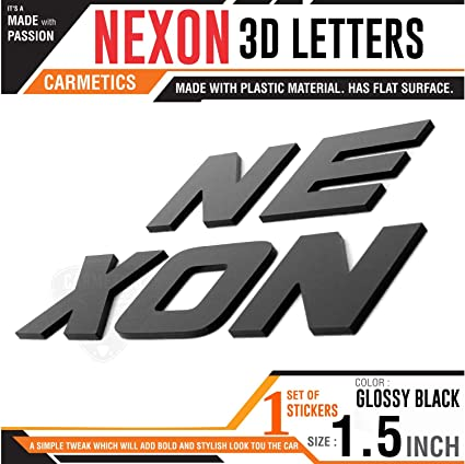 Carmetics Nexon 3D Letters for Tata nexon - tata nexon Accessories 3D  Stickers Logo Emblem Graphics - Mirror Finish Bold Type 1 Set (Nexon Black  Bold)