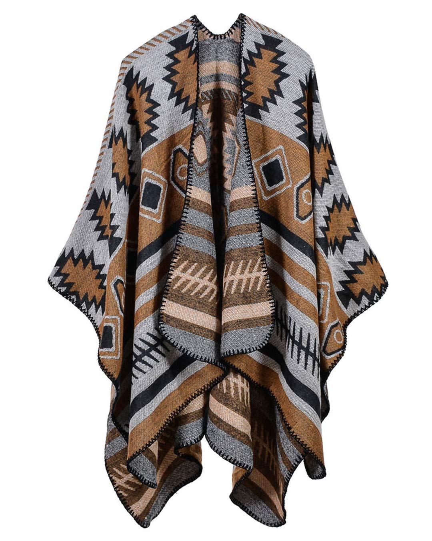 Women Poncho Scarf Cardigan Sweater Geometrical Print Retro Scarves For Warm Cape Shawl Long Scarves Outwear Khaki