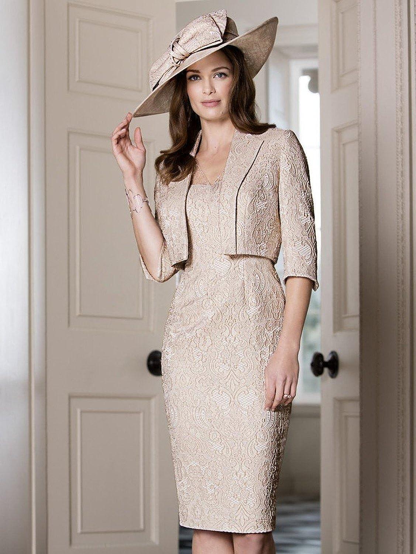 0df4dc43690f Dressvip donna Light champagne pizzo abito formale vestito con giacca   Amazon.it  Abbigliamento