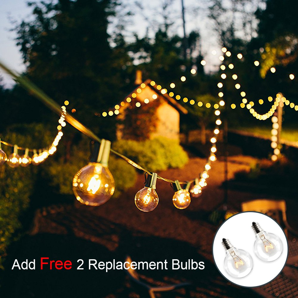 Globe String Lights G40 UL Listed Patio Lights for Indoor Outdoor Commercial Decor 25Ft with 25 Clear Bulbs Outdoor String Lights for Party Wedding Garden Backyard Deck Yard Pergola Gazebo, Black by Upook (Image #4)
