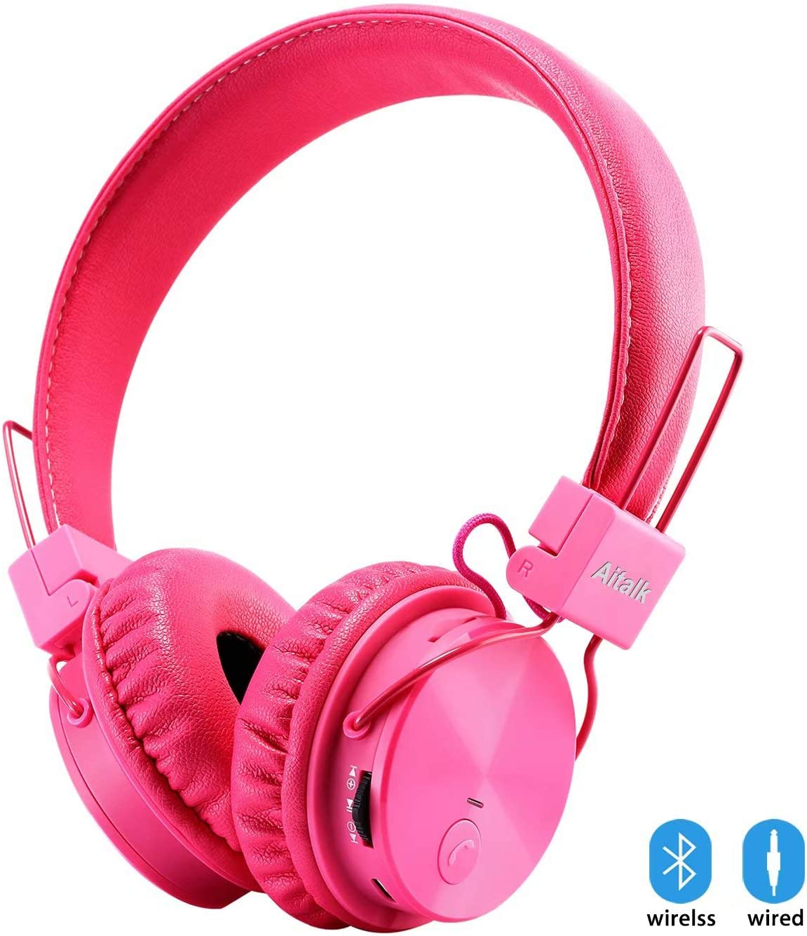 Kids Headphones Bluetooth, Foldable Wireless Wired Stereo HD On-Ear Headset with 3.5mm Jack SD Card FM Radio Microphone Volume Control Over Ear Children Headphones for Girls Boys School iPhone, Pink