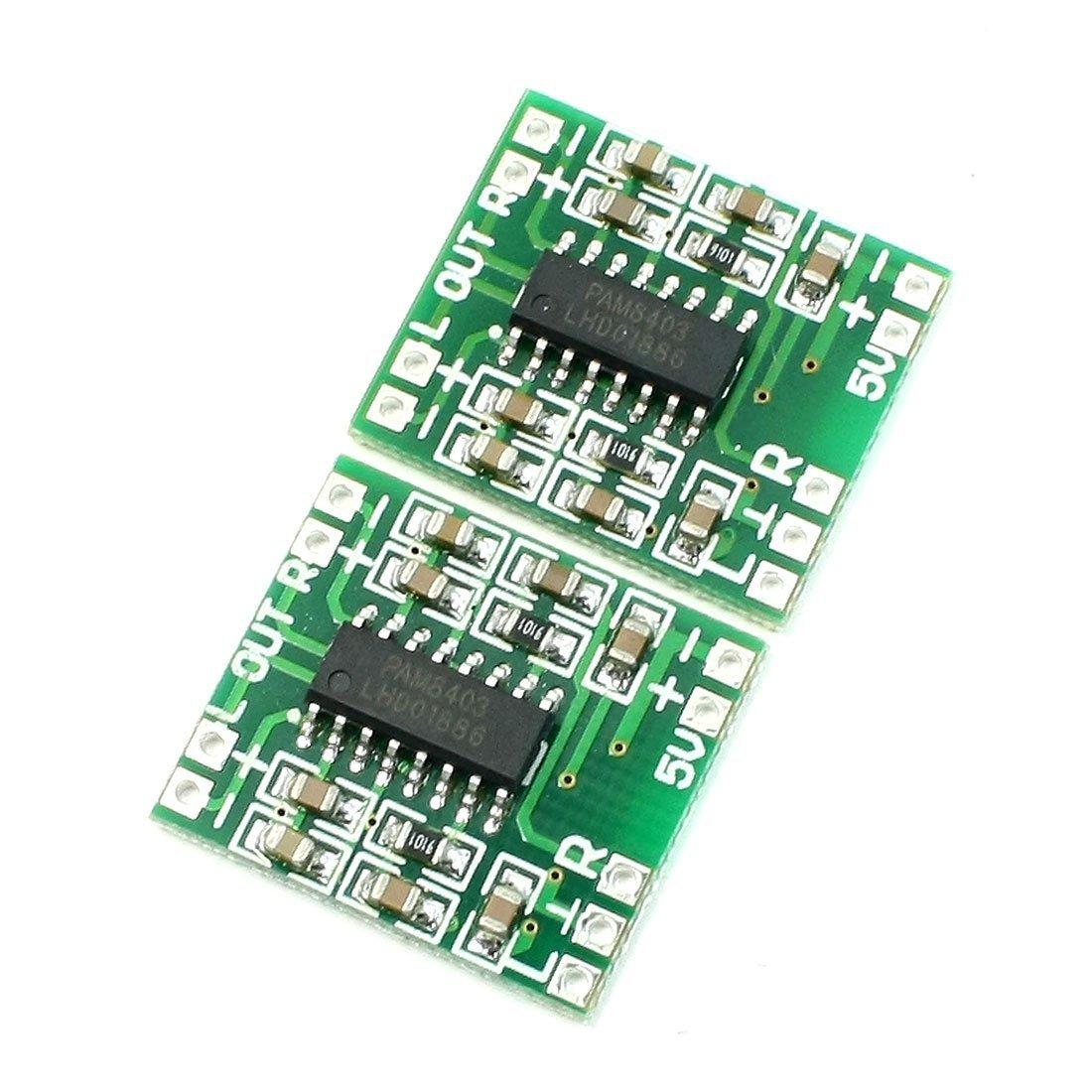 SODIAL Super Mini PAM8403 2*3W D Class Digital Amplifier Board 2.5-5V USB Power Green+Silver