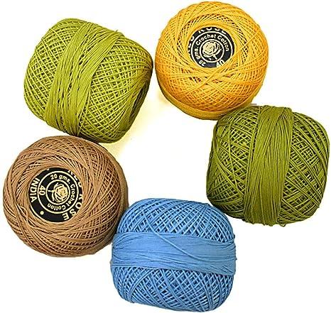Hilo de hilo de algodón para tejer y hacer manualidades (5 rollos ...