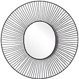 Black Velvet Studio Specchio Ra metallo, color nero. forma del cerchio. stile nordico. 48x48x2 cm.