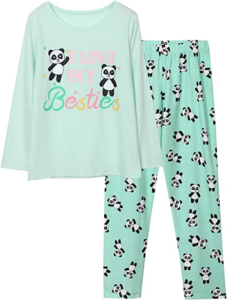 Panda Pajamas for Girls Size 2T-16 Toddler Little Kids Long Sleeve /& Pants Clothes Set PJ Pal Sleepwear