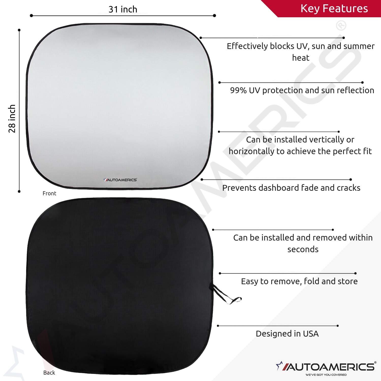 Autoamerics Parabrezza Parasole 2 pezzi Separabile pieghevole 71 x 81 cm Riflettore di calore universale adatto ai raggi UV Max e aiuta a mantenere fresco il tuo veicolo