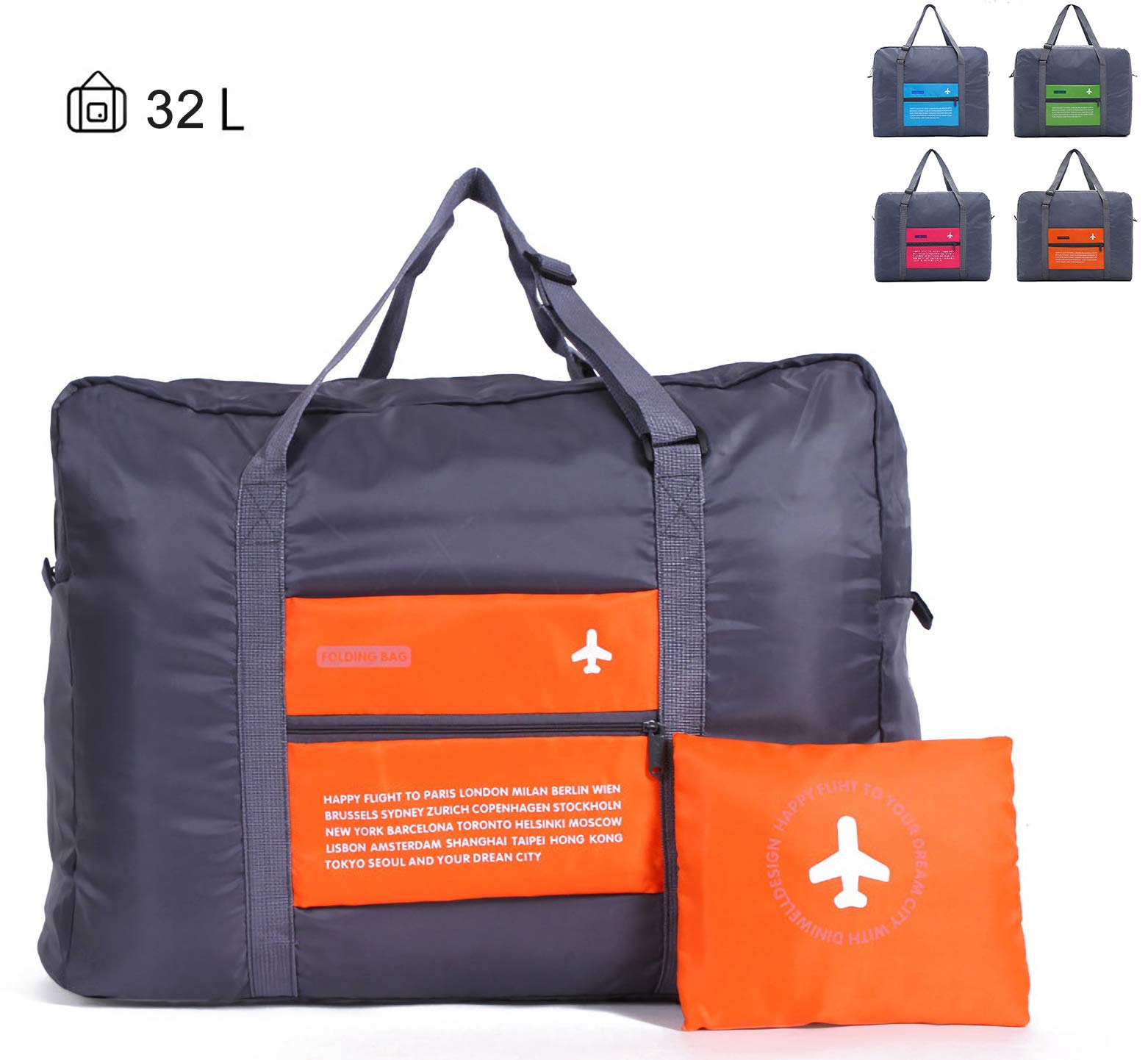 CHYOUL Travel Foldable Packable Lightweight High Capacity Luggage Duffle Tote Bag Orange
