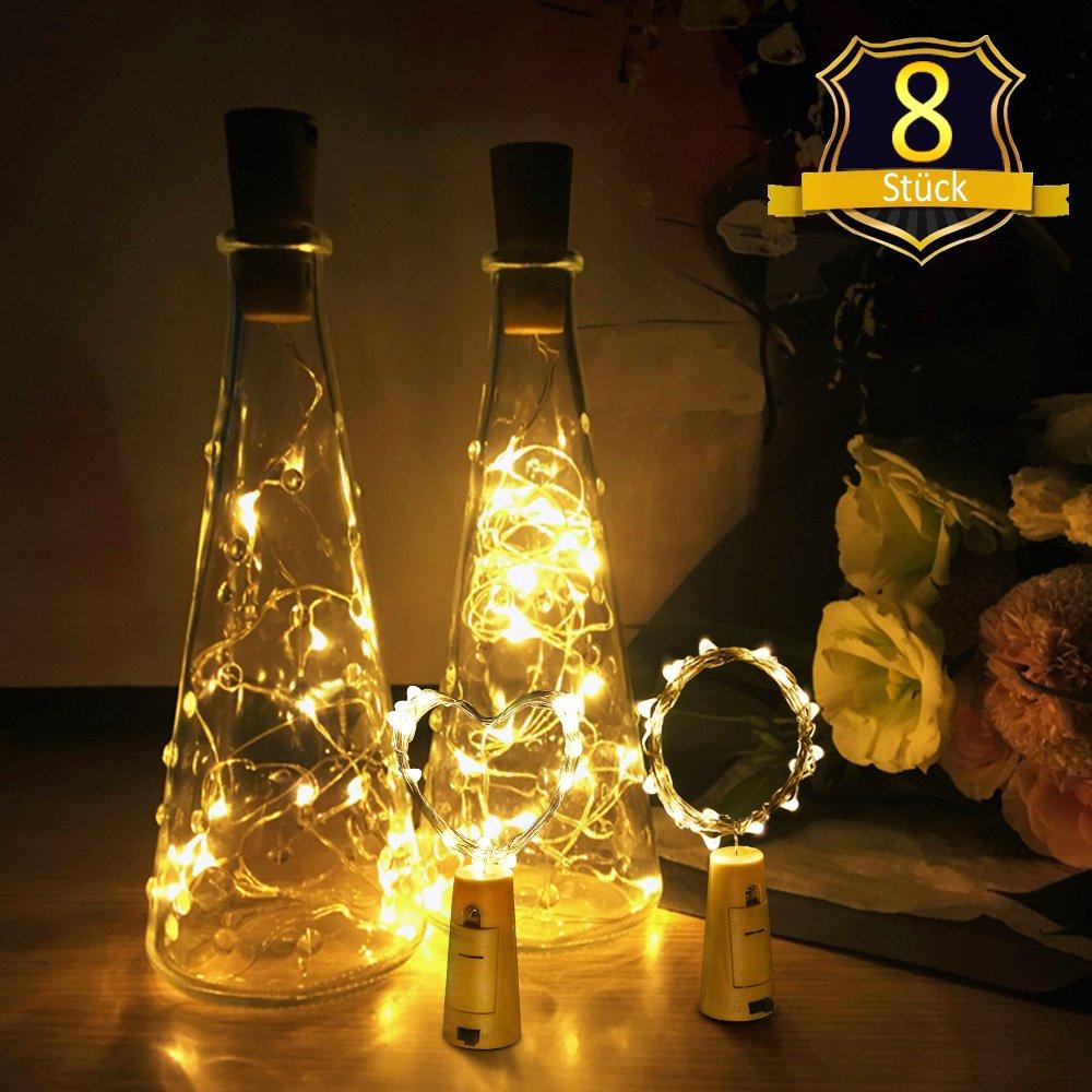 Flaschenlicht,XCT GROUP Led Lichterkette Kork Flaschen licht LED Lichter, für Party, Garten,Hochzeit, Beleuchtung Deko,2M&20 LED - Warm weiß [8 Stück]