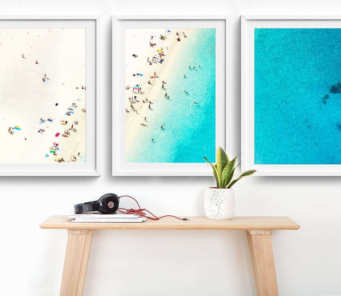 18x24'' Framed ''Mediterranean Dreams'' Three-Piece Triptych Aerial Beach Photography Print