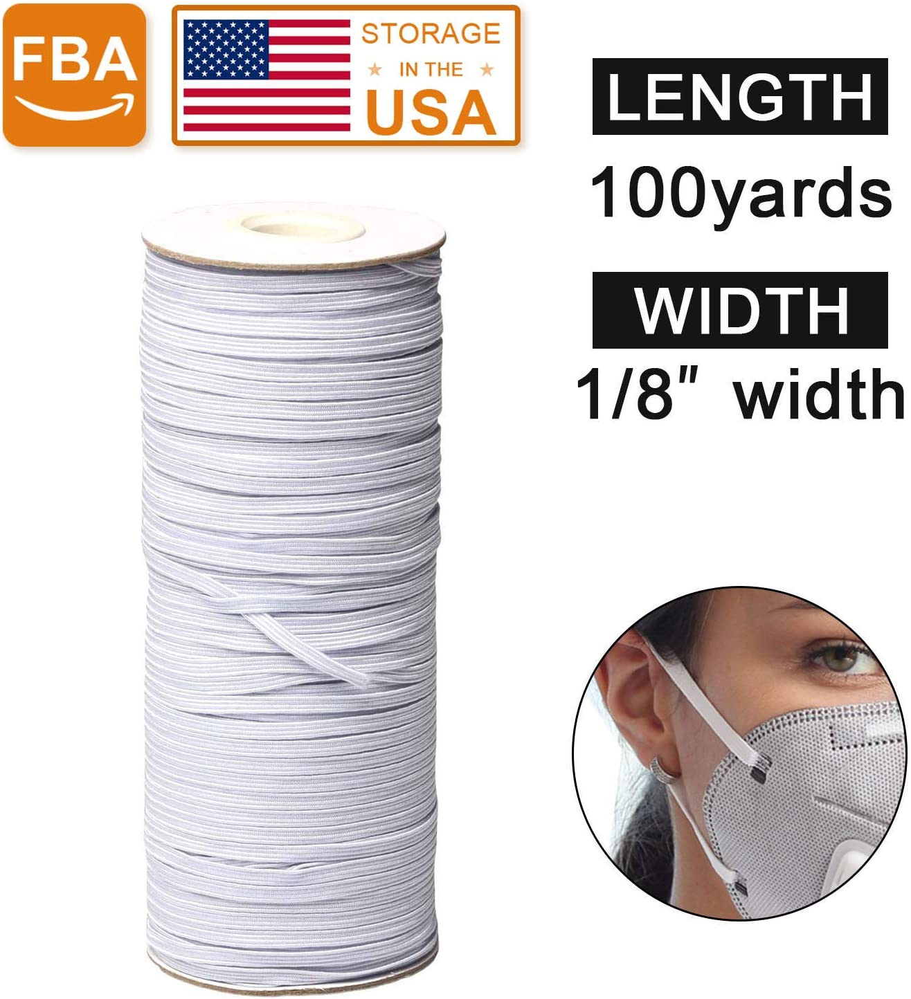 Flat Elastic band white 1//8 inch 3mm suitable for mask sewing notions yard