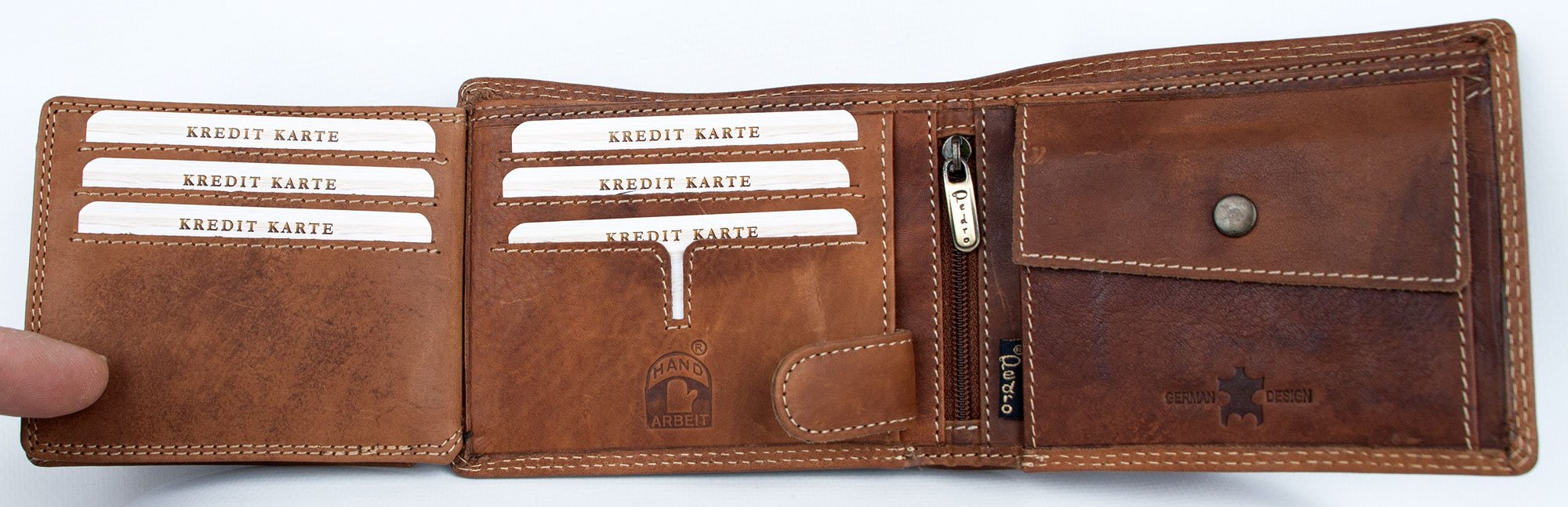 Mens Natural Strong Glazed Genuine Leather Wallet Pedro with Wing