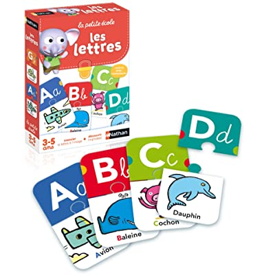 Nathan 31404 Les Lettres - Juego Educativo con Puzzle de Cartas (en francés), diseño de Letras: Juguetes y juegos