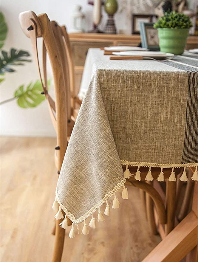 Large cotton bland tablecloth with lace trim 68x 52 173 cm mustard Privet collection Big family Banquet wedding New old stock Gift idea